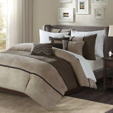 6pc Tan Taupe & Brown Microsuede Duvet Cover Bedding Set AND Decorative Pillows