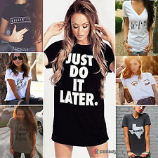Letter Printed Womens Summer Tops Loose Tee Short Sleeve T-shirt Blouse Shirt