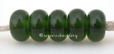 5 DEEP OLIVE GREEN * Lampwork Spacer Beads Glossy Matte Glass Handmade Donut