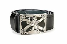 Rampant Lion Saltire Leather Kilt Belt and Buckle MG3 Antique + Black