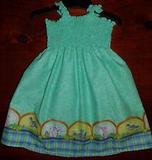 SZ 0 GREEN or RED (choices) COTTON SHIRRED TOP DRESS HANDMADE IN AUSTRALIA