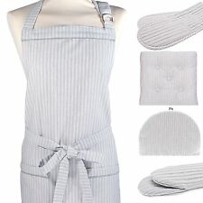 Grey Stripe Double Oven Gloves / Apron / Seat Pad / Gauntlet or Tea Cosy