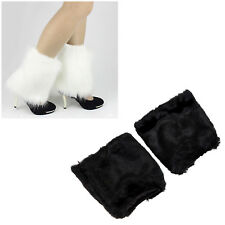 Fluffies Fluffy Furry Leg Warmers Boots Covers Rave Furries White P4Q9