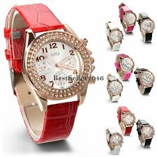 Fashion Rhinestone Dial Leather Women Girl Quartz Analog Wrist Watch Mothers Day