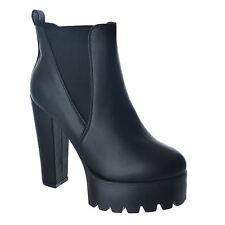 NEW LADIES WOMENS BLOCK HIGH HEEL CHUNKY PLATFORM CHELSEA ANKLE BOOTS SHOES SIZE