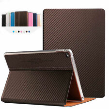 Brand Luxury Carbon fiber Smart Leather Case Smart cover For Apple iPad Series