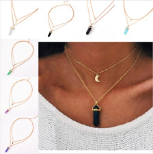 Charm Crystal Alloy Natural Stone Moon Chain Choker Pendant Double Layer Jewelry