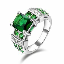 Trendy Jewelry Green Emerald 18K White Gold Filled Vintage Party Ring Size 6-10