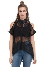 Jawbreaker Sheer Sexy Cut Out Cold Shoulder Floral Lace Shirt Punk Top Blouse