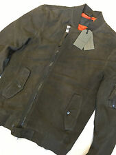 """ALL SAINTS DARK ARMY BROWN """"CRESCENT"""" LEATHER BOMBER JACKET COAT - XS M NEW TAGS"""