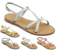 NEW WOMENS FLAT FAUX LEATHER STRAPPY GLADIATOR SUMMER BUCKLE FLIP FLOP SANDALS