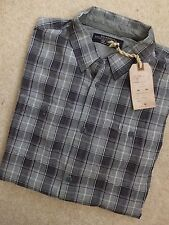"ALL SAINTS GREY MARL ""BOWERMAN"" HALF SLEEVE CHECK SHIRT TOP - XS S - NEW TAGS"