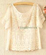 New Fashion Womens Girl Sweet Hollow-Out Lace Crochet Casual Loose Smock Blouse