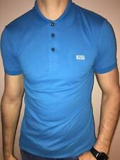 HUGO BOSS POLO SHIRT BY BOSS GREEN MODERN FIT BLUE STRETCH COTTON NWT S M L
