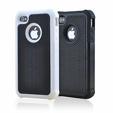 Color Hybrid Rubber Rugged Combo Matte Silicone Case Hard Cover For iPhone 4 4S