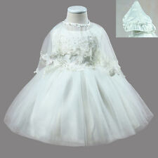 Baby Girls White Christening Outfit Girl Lace Baptism Dress Gown Cape Hat 3PCS
