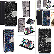 Bling Crystal Diamond Leather Luxury Flip Wallet Cover Case For iPhone Model
