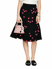 NWT Kate Spade New York Petite florals Print Fluted Knee-Length Midi Skirt-Black