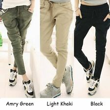New Womens Ladies Casual Skinny Trousers Pockets Pencil Pants Waist Belt Solid