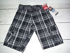 NWT Boys Wrangler Black White Gray Plaid Cargo Shorts w/ Belt
