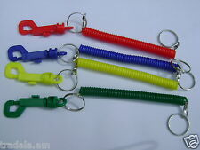 PACK OF 2 MULTI SKINNY SPIRAL KEY CHAINS COIL KEY RINGS HIPSTER BELT  KEYCHAINS