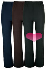 Ladies Nurse Work Casual Fine RIB STRETCH Elasticated Bootleg Trousers uk8-26.