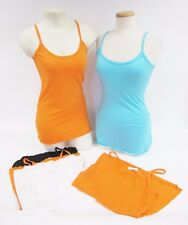 NWOT Rebecca Beeson Orange Aqua Black White Spaghetti Strap Tank Top Size 2-3