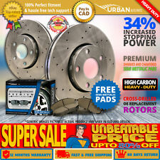 Heavy Duty Front Rotors + S Pads Cross Drilled Fit-2000 2001 2002 Dodge Neon