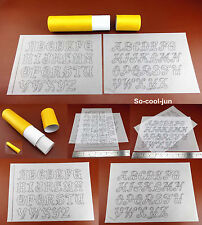 Leathercraft Carve Draw Alphabet Pattern Transparent Tracing Paper Template Tool