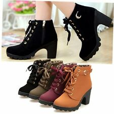 Womens Ladies Suede High Top Heel Lace Up Buckle Ankle Boots Martin Pumps Shoes