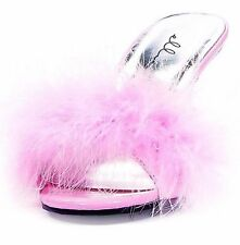 ELLIE Shoes High Heels Womens Maribou Feathers Slippers 361-SASHA PINK