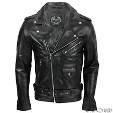 Mens Waxed Soft Real Leather Black Biker Jacket Vintage Classic Motorcycle Style