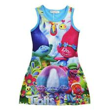 Girls Poppy Trolls Sleeveless Dress Summer Casual Party Vest Dress 3-8yr Old