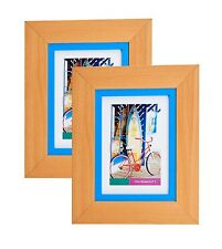 Natural Wood Picture Frame Photo Mat GLASS Display Wall Hang Table Easel Back