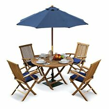 Tuscany Outdoor Dining Set - Teak Garden Table, Chairs, Cushions, Parasol & Base