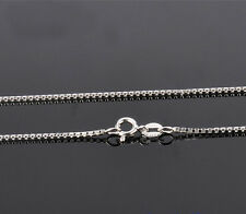 1.2MM 10K Solid White Gold Box Necklace Chain - 16-22 Inches