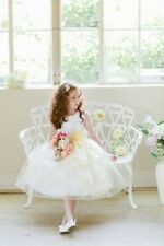 Layered Organza Ruffle Skirt Holiday Christmas Party Flower Girl Dress-Yellow