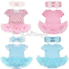 2PCS Baby Girls Cute Cotton Clothes Newborn Romper Tutu Dress Headband Outfits