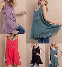 Easel anthropologie boho chic rayon tunic top with floral lace & ruffle hem