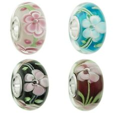 Sterling Silver Round Flower Blossom Glass Bead for European Charm Bracelets