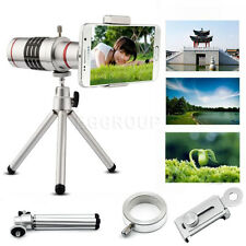 US 18X Optical Zoom Clip-on Telescope Camera Lens + Tripod Mount For Cell Phones