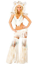 J Valentine White Indian Beaded Fringe Skirt & Top Costume CS220