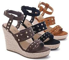 WOMENS HIGH WEDGE PLATFORM STUDDED ANKLE BUCKLE ESPADRILLES SHOES SANDALS SIZE