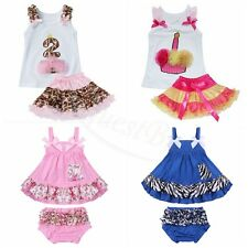 2PCS Infant Baby Girls Outfits Swing Floral Tops with Bloomers Pants Clothes Set