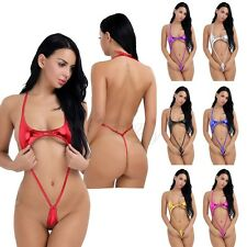 Women Sexy Leather Halter One Piece Bikini Teddy Bodysuit Bathing Thong Monokini