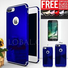 For iPhone 6 6s 7 Plus Tempered Glass + Ultra Thin Mirror Case Hybrid Hard Cover