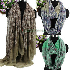 Women Vintage Paisley Floral Print Color Stitching Long Shawl/Infinity Scarf New
