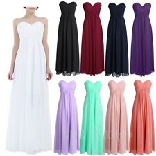 Bandeau Long Chiffon Evening Formal Party Ball Gown Prom Women Bridesmaid Dress