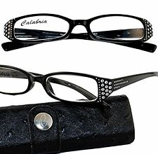 BLACK MAGIC Calabria DAZZLE with Swarovski Reading Glasses Sprng Hngs 0.50-3.50
