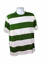 Tommy Hilfiger Men's Green/White Cotton Short Sleeves Striped Crew Neck T-Shirt
